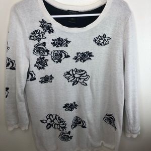 Ann Taylor Sweater White black floral design